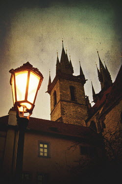 Nic Skerten GOTHIC TOWERS WITH STREETLAMP Religious Buildings