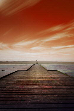 David Johnson JETTY BY SEA AT SUNSET Seascapes/Beaches