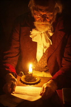 Lee Avison VICTORIAN MAN READING BY CANDLELIGHT Old People