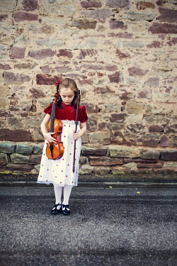 Kelly Sillaste GIRL WITH VIOLIN OUTDOORS Children