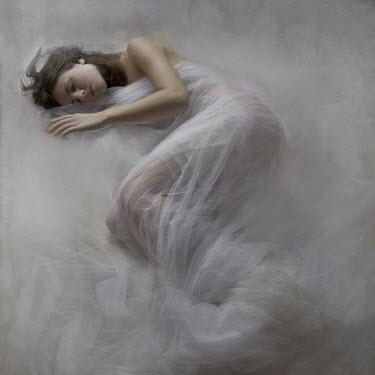 Hanna Nemeth WOMAN SLEEPING IN WHITE SILK Women