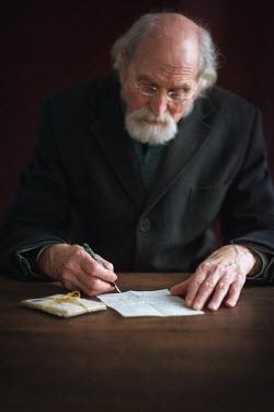 Lee Avison OLD MAN WRITING LETTER Old People