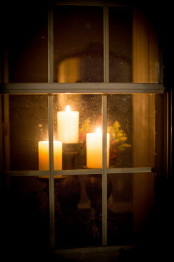 Laura Blost THREE CANDLES IN A WINDOW Miscellaneous Objects