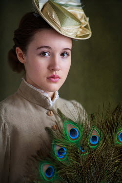 Lee Avison HISTORICAL WOMAN WITH PEACOCK FEATHERS Women