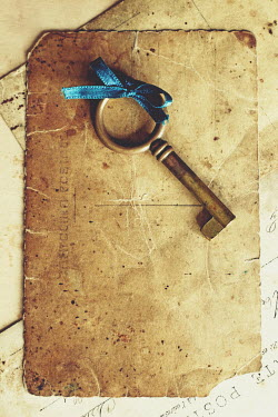 Diana Debord OLD KEY WITH RIBBON AND POSTCARD Miscellaneous Objects
