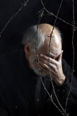 Stephen Carroll SAD MAN WITH BARBED WIRE Old People