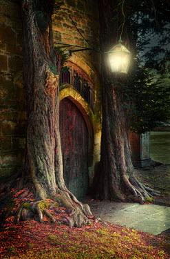 Jill Battaglia OLD CHURCH DOOR AT NIGHT Religious Buildings
