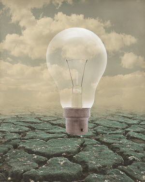 Peter Hatter LIGHT BULB WITH CRACKED EARTH AND CLOUDS Miscellaneous Objects