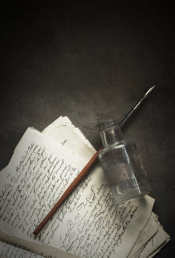 Amy Weiss ANTIQUE PEN, INK POT AND LETTERS Miscellaneous Objects