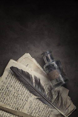 Amy Weiss FEATHER QUILL WITH LETTERS AND INK POT Miscellaneous Objects