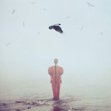 Oleg Oprisco WOMAN STANDING IN WATER WITH BIRDS Women