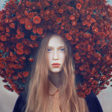 Oleg Oprisco WOMAN WITH LARGE FLORAL HEADDRESS Women