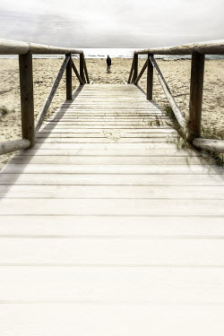 David Johnson WOODEN WALK WAY WITH MAN ON BEACH Seascapes/Beaches