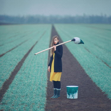 Oleg Oprisco GIRL PAINTING PLANTS IN FIELD Women
