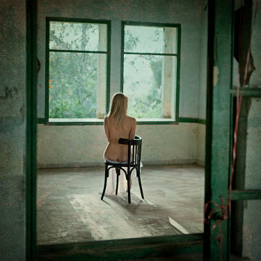Pini Hamou NAKED WOMAN IN EMPTY ROOM REFLECTED IN MIRROR Women