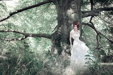 Viona Ielegems WOMAN IN GOWN BY TREE Women