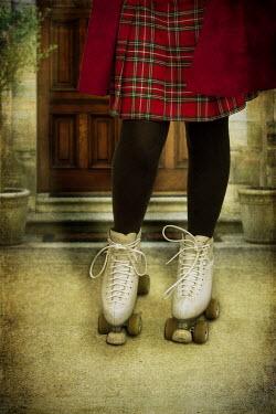 Victoria Davies GIRL IN KILT ON ROLLER SKATES Women