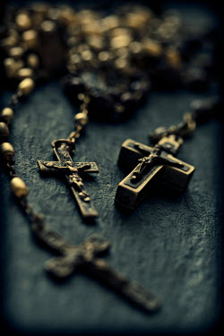 Sally Mundy CLOSE UP OF ROSARIES WITH CRUCIFIXES Miscellaneous Objects