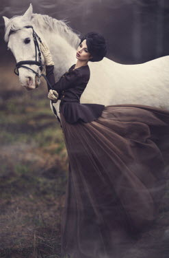 Margarita Kareva VINTAGE WOMAN WITH HORSE Women