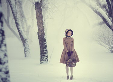 Margarita Kareva GIRL WITH BASKET IN SNOWY WOOD Women