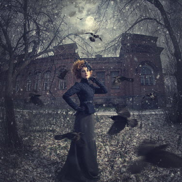 Margarita Kareva WOMAN SURROUNDED BY BIRDS WITH EERIE BUILDING BEHIND Women
