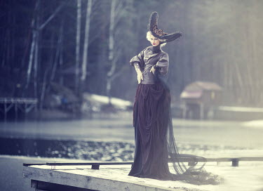 Margarita Kareva GLAMOROUS WOMAN STANDING BY LAKE Women