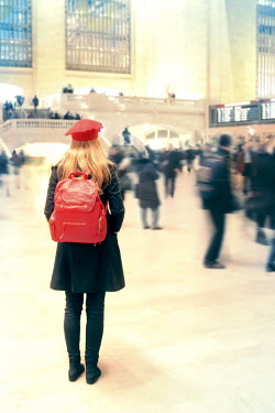 ILINA SIMEONOVA WOMAN WITH BACKPACK AT STATION Groups/Crowds