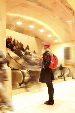 ILINA SIMEONOVA WOMAN BY BUSY ESCALATORS Groups/Crowds