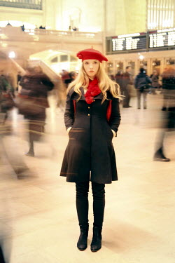 ILINA SIMEONOVA WOMAN STANDING IN BUSY TRAIN STATION Groups/Crowds
