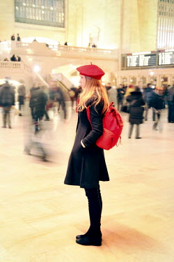 ILINA SIMEONOVA WOMAN WITH BACKPACK IN STATION Groups/Crowds
