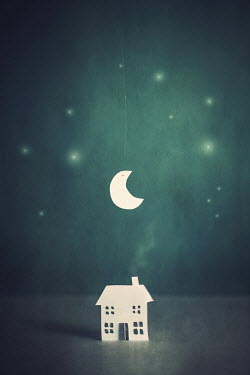 Catherine Macbride PAPER MODEL OF HOUSE WITH CRESCENT MOON Miscellaneous Objects