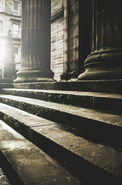 John Cooper STONE STEPS WITH COLUMNS OUTSIDE OLD BUILDING Stairs/Steps