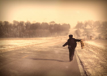 Jake Olson BOY WITH TEDDY WALKING ON COUNTRY ROAD Children