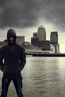 Andy & Michelle Kerry HOODED MAN WITH CITY SKYLINE BEHIND Men
