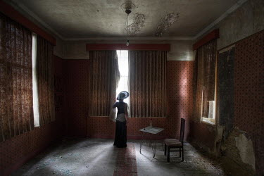 Franck Losay WOMAN IN GRAND DERELICT ROOM Women