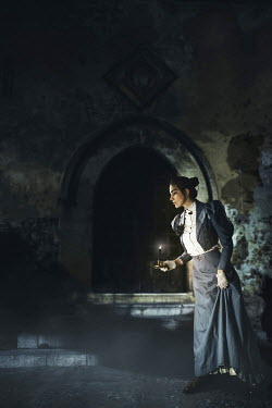 David Pairé HISTORICAL WOMAN WITH CANDLE AT NIGHT Women