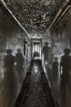 Franck Losay DERELICT CORRIDOR WITH SHADOWS ON WALLS Interiors/Rooms