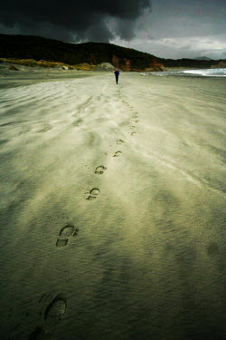Karin Lips FOOTPRINTS IN SAND, MAN IN DISTANCE Seascapes/Beaches