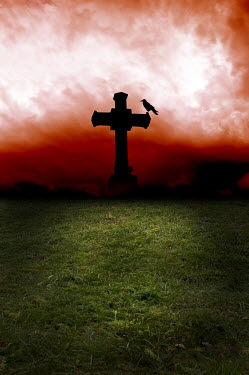 Valentino Sani SILHOUETTE OF CROSS MEMORIAL AT NIGHT Statuary/Gravestones