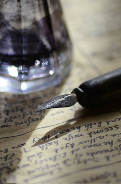 Jill Battaglia OLD FOUNTAIN PEN WITH PARCHMENT Miscellaneous Objects