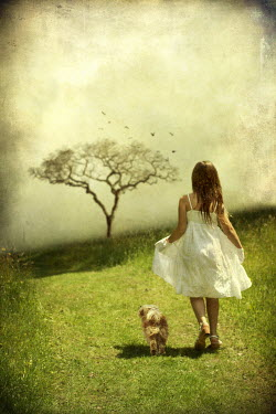 Victoria Davies GIRL IN COUNTRYSIDE WITH DOG Children