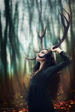 Samantha Meglioli WOMAN WITH ANTLERS IN FOREST Women