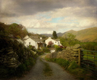 Vesna Armstrong COUNTRY LANE WITH COTTAGES Paths/Tracks