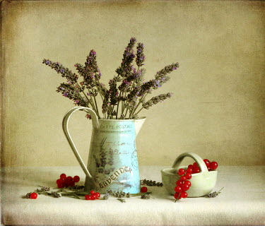 Vesna Armstrong VASE WITH LAVENDER AND BOWL WITH BERRIES Miscellaneous Objects