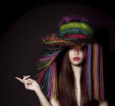 Vanessa Ho ASIAN GIRL WITH FLUFFY HAT Women