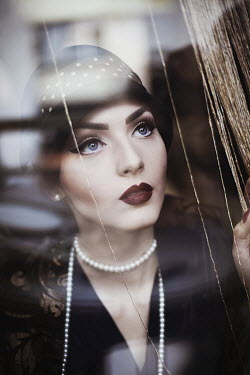 Nina Masic VINTAGE WOMAN LOOKING THOUGHT WINDOW Women