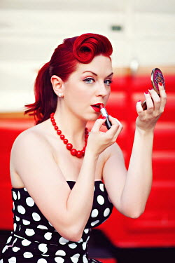 Rachel Nichole VINTAGE WOMAN APPLYING LIPSTICK Women