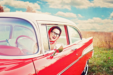 Rachel Nichole WOMAN IN VINTAGE AMERICAN CAR Women