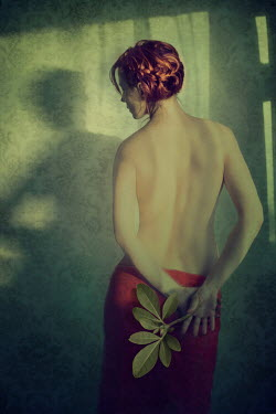Marta Orlowska NAKED WOMAN STANDING WITH LEAF Women