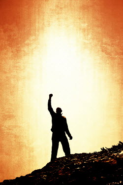 Tim Robinson SILHOUETTE OF MAN WITH FIST IN AIR Men